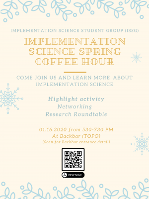Flyer for Implementation Science Student Group Coffee Hour
