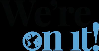 vertical wordmark in blue and black
