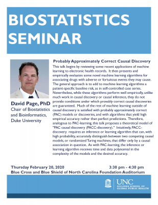 Flyer for Biostatistics Lecture with David Page