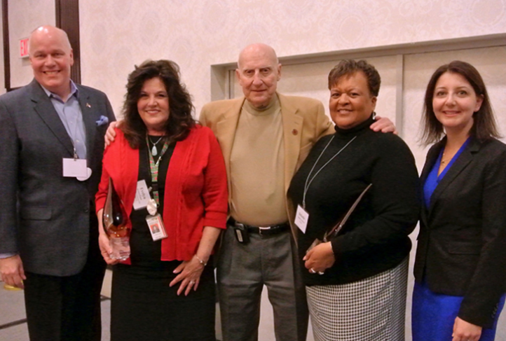 DHHS Assistant Secretary for Public Health Mark Benton, Evelyn Foust, Ronald Levine, Belinda Pettiford and DHHS Secretary Mandy Cohen (Photo courtesy of NC DHHS)