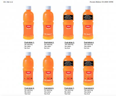 An image from the published report shows examples of different 'fruit drink' labels used in the study.