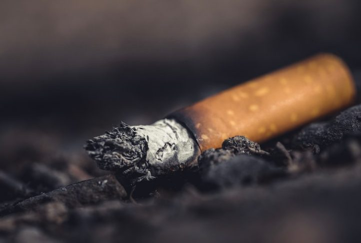 An extinguished cigarette lays on the ground.