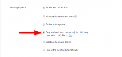 This image has an arrow pointing to the setting which allows for attendees to be limited to UNC users only.