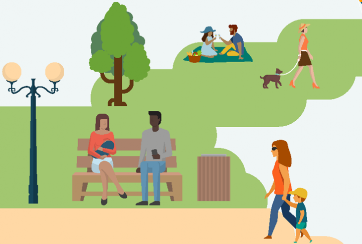 A colorful graphic of a park from the ODPHP report about breastfeeding accommodations