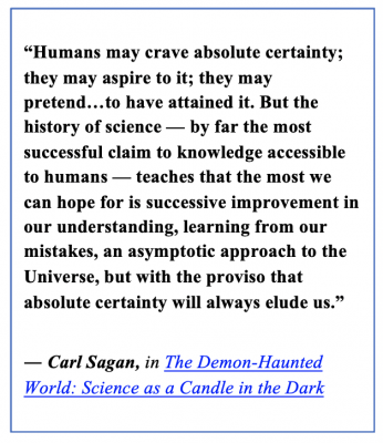 Carl Sagan quote from in The Demon-Haunted World: Science as a Candle in the Dark
