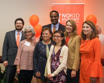 The Carolina Hunger Initiative team smiles with friends at the 2019 N.C. Child Hunger Leaders Conference in Chapel Hill. From left are: Andrew Harrell; Helen Roberts; Lou Anne Crumpler; WRAL-TV News Anchor Gerald Owens; Jessica Soldavini; First Lady of N.C. Kristin Cooper; and Tamara Baker.