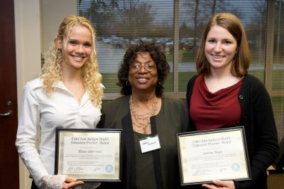 Ethel Jean Jackson poses with Alicea Lieberman and Sabrina Boyce, 2009 recipients of the Ethel Jean Jackson Health Education Practice Award.
