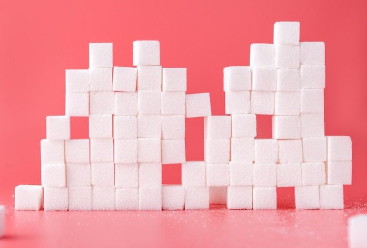 Sugar cubes create a wall.