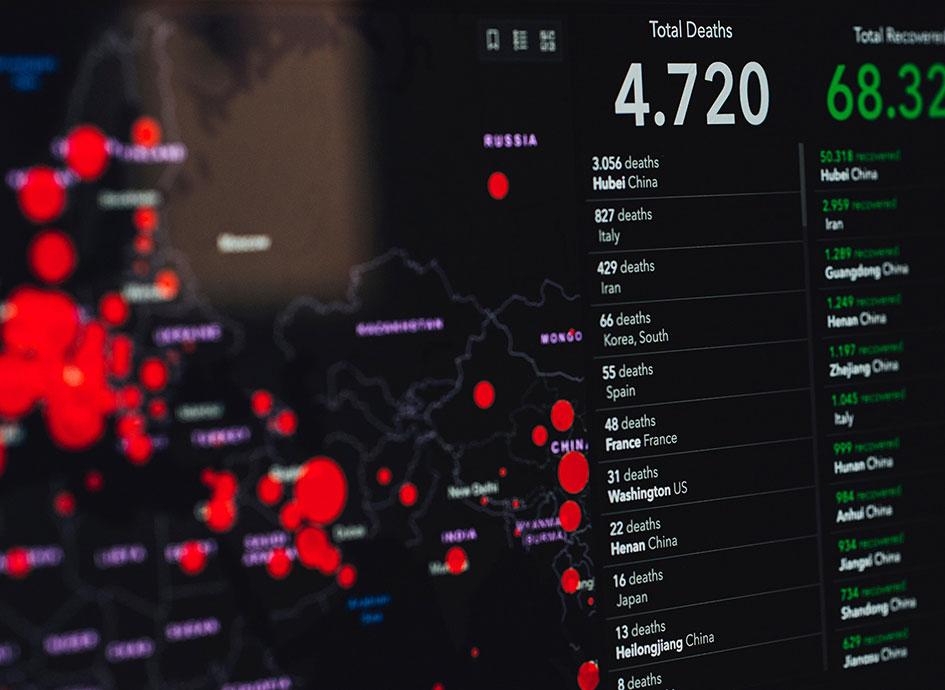 A digital COVID-19 dashboard provides statistics.