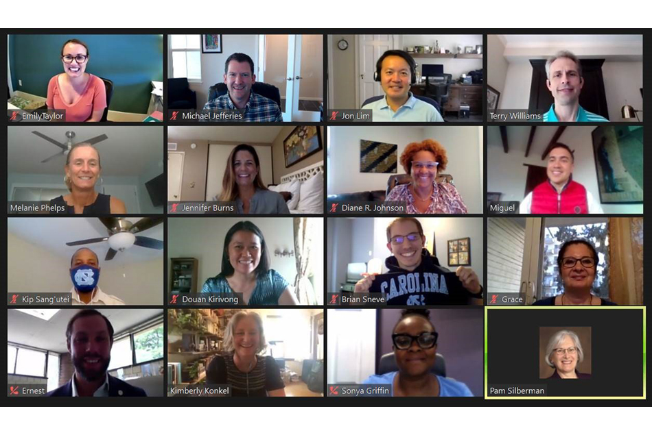 Zoom web conferencing window with images of 16 new DrPH students