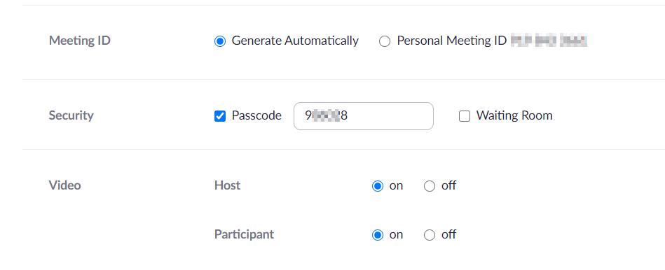 Example of entering Zoom passcode