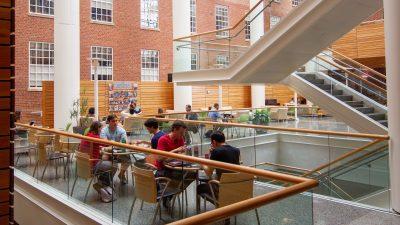 Students study in the Atrium.