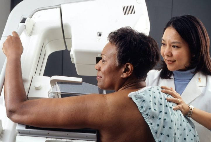 A woman receives a mammogram to screen for breast cancer.