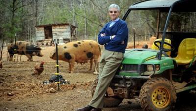 Dr. Michael Aitken conducts research at a North Carolina hog farm.