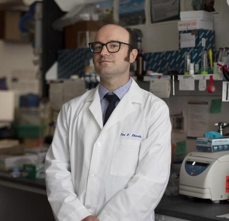 Dr. Timothy Sheahan stands in the Baric Lab. (Photo by Megan May/UNC-Chapel Hill)