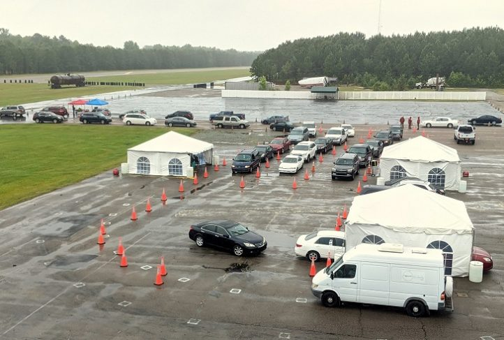 Overview of a drive-through testing site in Sanford N.C.