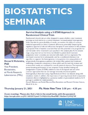 Flyer for Biostatistics Seminar featuring Dr. Mehrotra