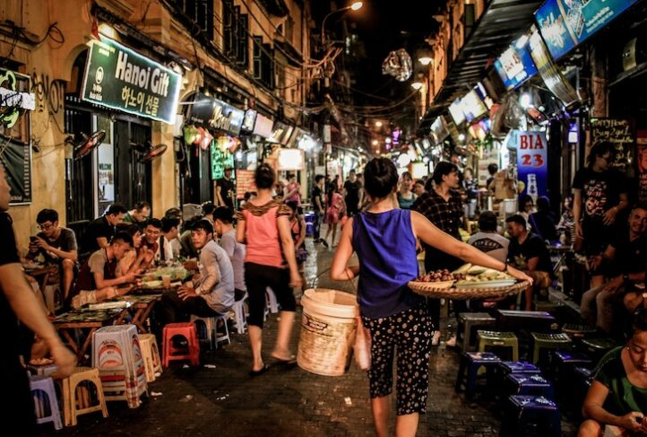 This is a street scene from Hanoi, Vietnam.