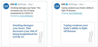 Example tweets from the study display messages about COVID-19, smoking and vaping.
