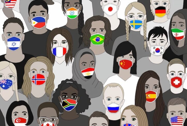 Global citizens wear face masks representing their countries.