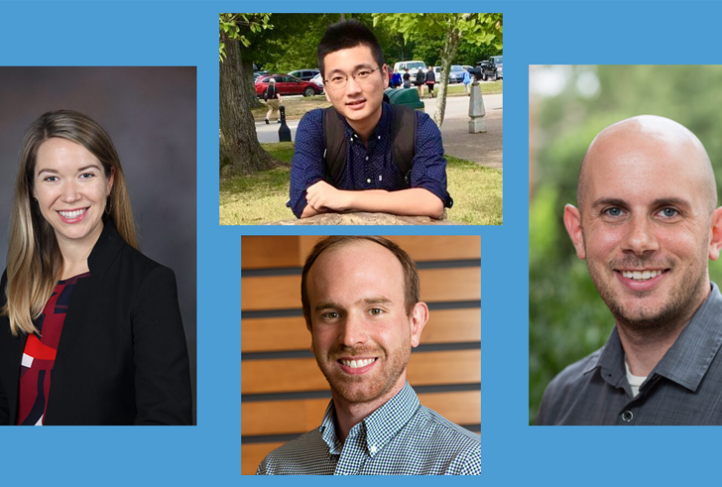 Katherine Calvin (left), Xun Xiao (top middle), Alex Gertner (bottom middle) and Nicholas Levis (right). (Image courtesy of The Graduate School)