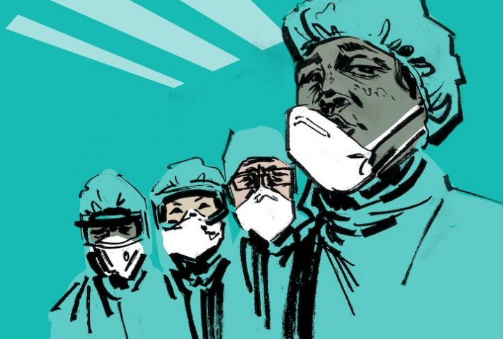 This illustration depicts health workers wearing safety masks.