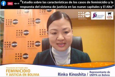 Rinko Kinoshita shares a presentation as a representative of the UNFPA in Bolivia.