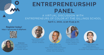 """This flyer advertises a """"Virtual Discussion with Entrepreneurs of Color at the Gillings School."""" Event details are at the link."""