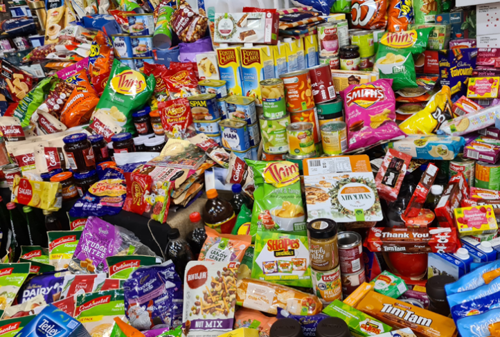 Various processed foods are collected in a pile.