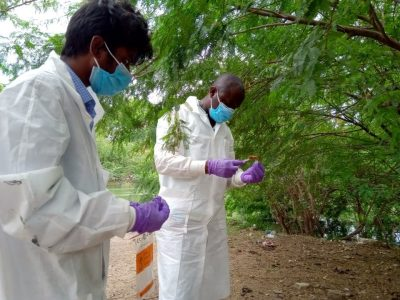 Manga collects field samples in Trichy to better understand the effectiveness of local sanitation technologies in reducing pathogen hazards.