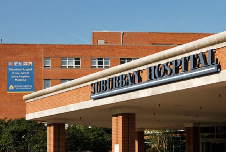 The front of Suburban Hospital