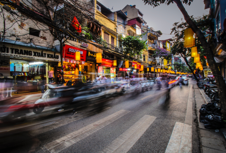 This is a street view of traffic in Hanoi, Vietnam.