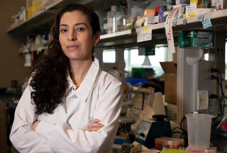 Isis Trujillo stands in her lab at the Nutrition Research Institute, located near Charlotte in Kannapolis, North Carolina. (Photo by Alyssa LaFaro)