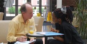 Dr. David Steffen advises a student.