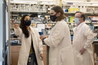 Trujillo and Friday (right) discuss an experiment with doctoral student Evan Paules (center). Paules studies the effects of choline-sensitive microRNA during brain development and in the adult liver. (Photo by Alyssa LaFaro)