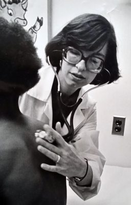 Marcia Herman-Giddens working in a health clinic in the 80s