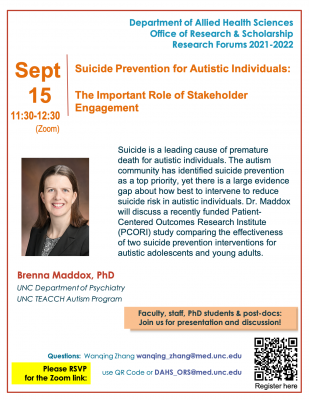 This is a flyer for a lecture with Brenna Maddox.