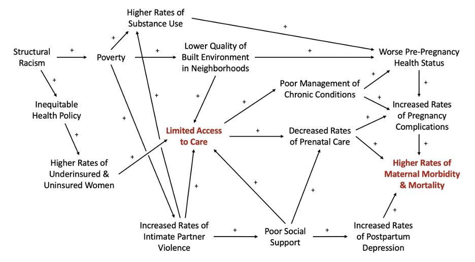 Causal loop diagram depicting select determinants of maternal mortality in the U.S.